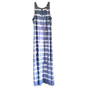 Blue & White Tie Dye Striped Maxi Dress